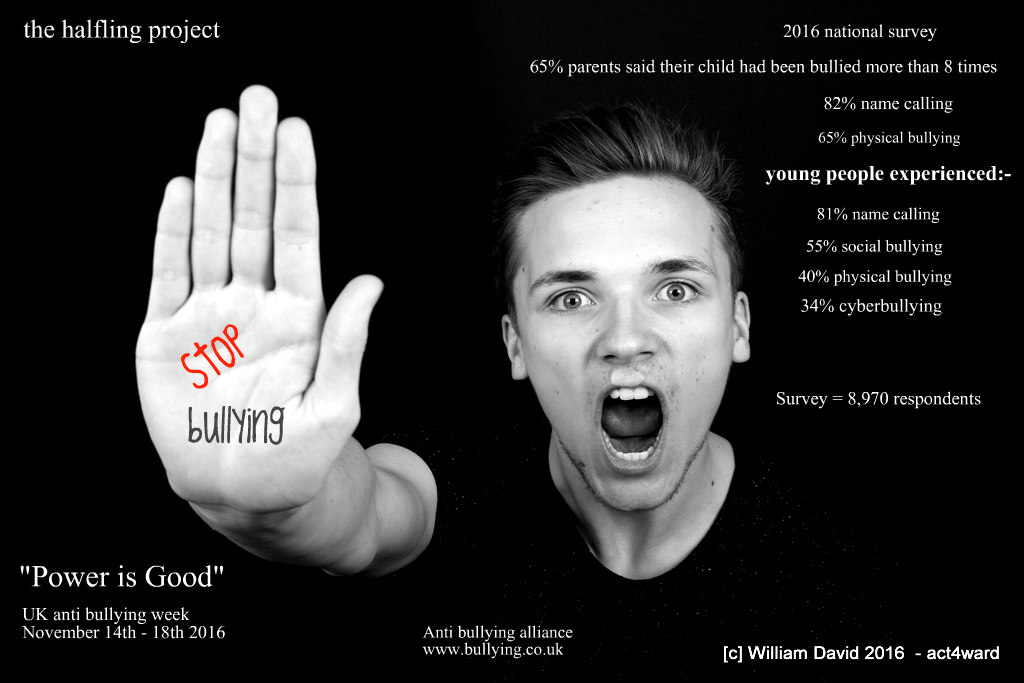 James De making the point for The Halfling Project during Anti Bullying Campaign Nov 2016